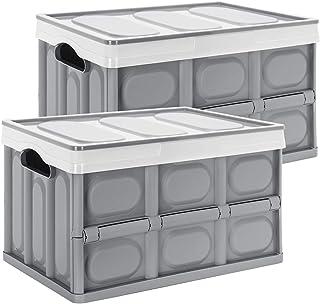 Yorbay Set de 2 Boîtes de Rangement Pliable Gris avec Couvercle Caisse Pliable, Caisse de Rangement 28L pour Vêtement, Déc...