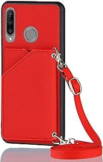 Lanyard plånbok kreditkortsfodral mobiltelefonfodral för Huawei P30 Lite (röd)