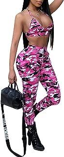 Womens 2 Piece Jumpsuits Camo Print Sleeveless Bodycon Halter Crop Top Long Pants Set