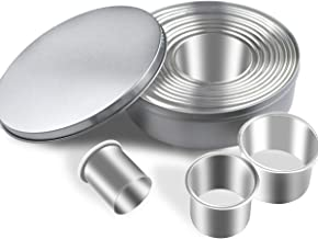 12 Pieces Round Cookie Cutters Set Stainless Steel Cookie Cutter Set Biscuit Plain Edge Round Cutters Circle Baking Metal ...