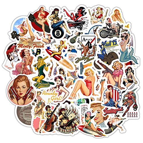 Car Stickers Do Not Repeat Sexy Retro Girl Poster Stickers Waterproof Notebook Suitcase Helmet Stickers 49pcs