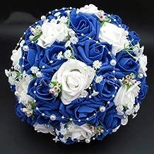 Ramo de novia Venta caliente Ramos de flores artificiales de Rose Perlas novia acentos novia de la boda con la cinta para la fiesta de la boda de novia Suministros azul y blanco