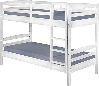 Inter Link Bett Etagenbett Bed Stockbett Kinderbett Kids Bett Kiefer massivholz Bio Weiss lackiert