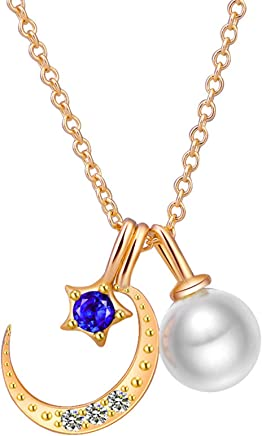 AMdxd Jewelry Necklace Sterling Silver Women Moon Star and Pearl Women Pendant Neckle Silver