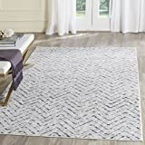 Safavieh Adirondack Collection ADR104N Ivory and Charcoal Modern Distressed Chevron Area Rug (3' x 5')