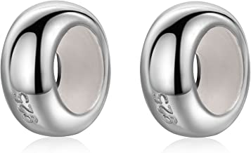 2Pcs Round Rubber Spacer Charms 925 Sterling Silver Stopper Bead Charms for 3mm Snake Chain Bracelet