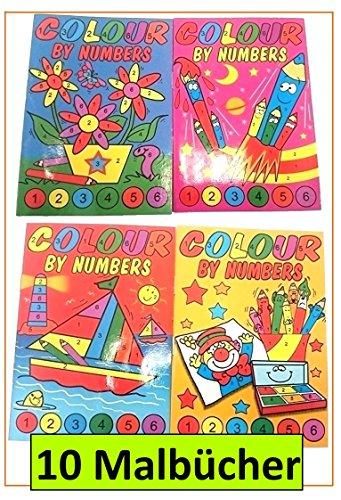 WFGraham 10 Malbücher Malen nach Zahlen Mini-Malbuch 148 x 105 mm Mitgebsel Kinderparty Hochzeit Geschenk für Kinder Geburtstag