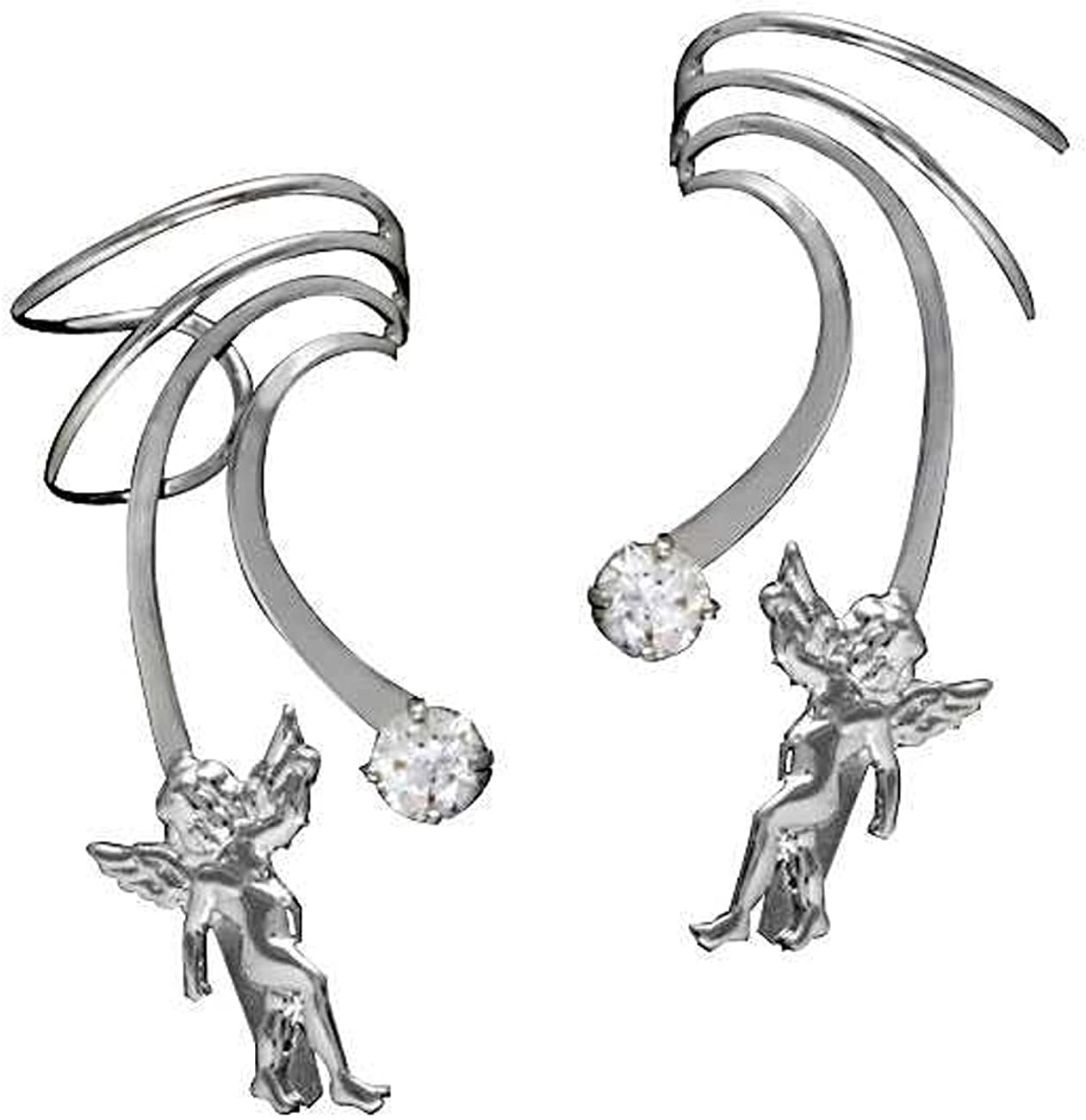 Max 40% OFF Sterling Silver Left 25% OFF And Right Wave Cu Pierceless Long Angel