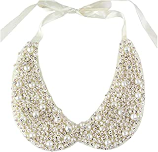LANGUGU Stylish Detachable Blouse False Collar Sequins Faux Pearls Crystal Beaded Collar Choker Peter Pan Necklace