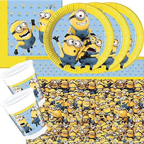 37-teiliges Party-Set Minions - Lovely Minions - Teller Becher Servietten Tischdecke für 8 Kinder
