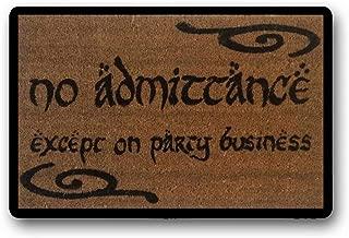 BXBCASEHOMEMAT Swirls Bilbo No Admittance Except On Party Business Geek Doormat Tolkien Door Mat Nerd Gifts Dungeons and Dragons Nerdy Gift 18