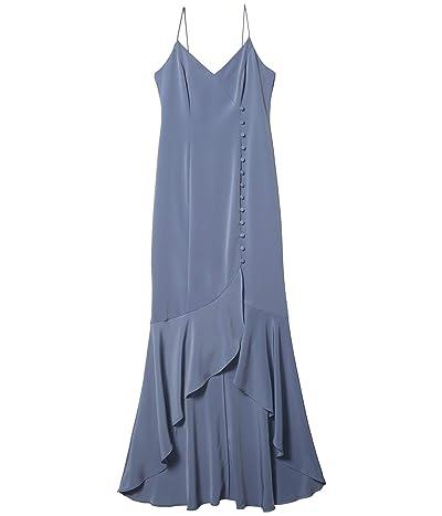 Adrianna Papell Crepe Wrap Dress w/ Button Detail (Dusty Blue) Women