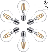 GOKU Vintage LED Filament Bulb Dimmable 6W (60W Equivalent), A19 LED Edison Bulb, 5000K Daylight White, 680 Lumens, E26 Base, Antique Style Edison Light Bulbs for Home, Restaurant, UL Listed, 6 Pack
