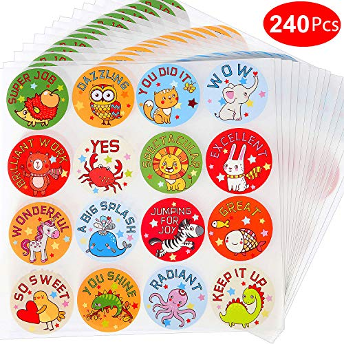 Outus 240 Pieces Animal Reward Stickers 1.5 Inches Classroom Motivational Incentive Stickers for Encouragement, Teachers, Students, 16 Designs