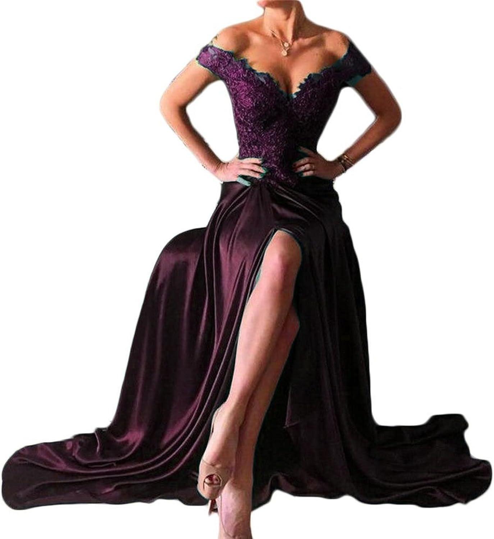 Lemai Shoulder V Neck Front Slit Long Lace Prom Formal Evening Party Dresses