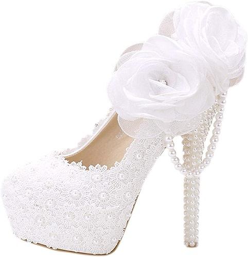 GTVERNH Chaussures Femme blanc Lace Fleur Chaussures étanches 12Cm Super Talons Hauts Plate - Forme Pearl Pendentif Simple Femme Chaussures Bon Talon épouse De Chaussures.