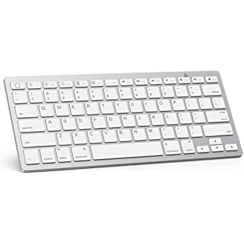 OMOTON Ultra-Slim Bluetooth Keyboard Compatible with iPad 10.2 (8th/ 7th Gen)/ 9.7-inch, iPad Air 10.9/10.5, iPad Pro 11/12.9, iPad Mini, iPhone and More Bluetooth Enabled Devices, White