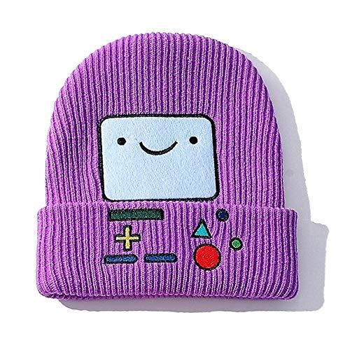 De punto del sombrero del invierno del sombrero del invierno de los hombres / mujeres de punto Cap guisantes historieta del sombrero del bordado de la cara sonriente de algodón Inocencio casquillo de