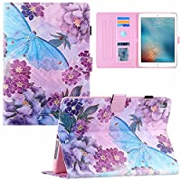 iPad 9.7 2018 2017 iPad 9.7 Pro 2016 Fashion Flower butterfly print tablet flip cover iPad Air 2 Air2 iPad 5 6 7 8 leather case stand holder (iPad 5/6/7/8,9)