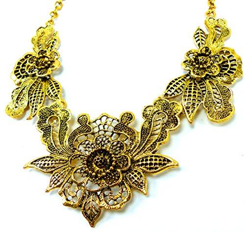 Trendit Statement-Kette Gold Damen Halskette Collier edler Damen-Schmuck golden Flower Ux3