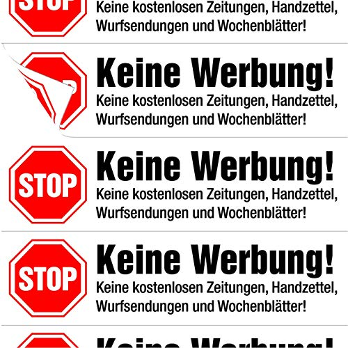 immi 10x Stop Keine Werbung Briefkasten Reklame Aufkleber matt einzeln abziehbar