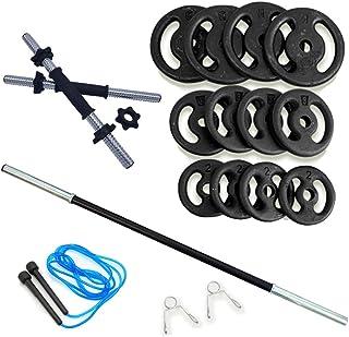 Kit Fitness 40Kg + 2 Barras 40cm C/Rosca + 1 Barra 120cm C/Presilhas + Corda