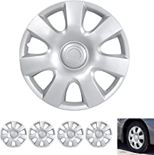 """BDK Wheel Guards – (4 Pack) Hubcaps for Car Accessories Wheel Covers Snap Clip-On Auto Tire Rim Replacement for 15 inch Wheels 15"""" Hub Caps (Classic No Lugs)"""