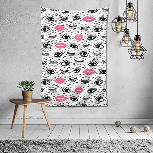 Tapiz para colgar en la pared, dibujado a mano, con pestañas, labios rosados, decoración de pared para dormitorio, sala de estar, 156 x 100 cm