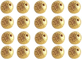 Satfale Jewellers Solid 22K Yellow Fine Gold 5MM Dotted Round 12 Pieces Indian Handmade Beads
