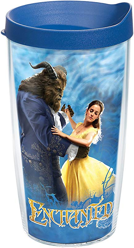 Tervis 1256054 Disney Beauty And The Beast Enchanted Insulated Tumbler With Wrap And Blue Lid 16oz Clear