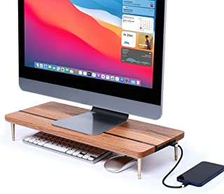 CRAFT KITTIES Monitor Stand Wood Riser with 4 USB Ports, Computer Monitor Stand with Red Oak Data Transfer Charging Hub -C...