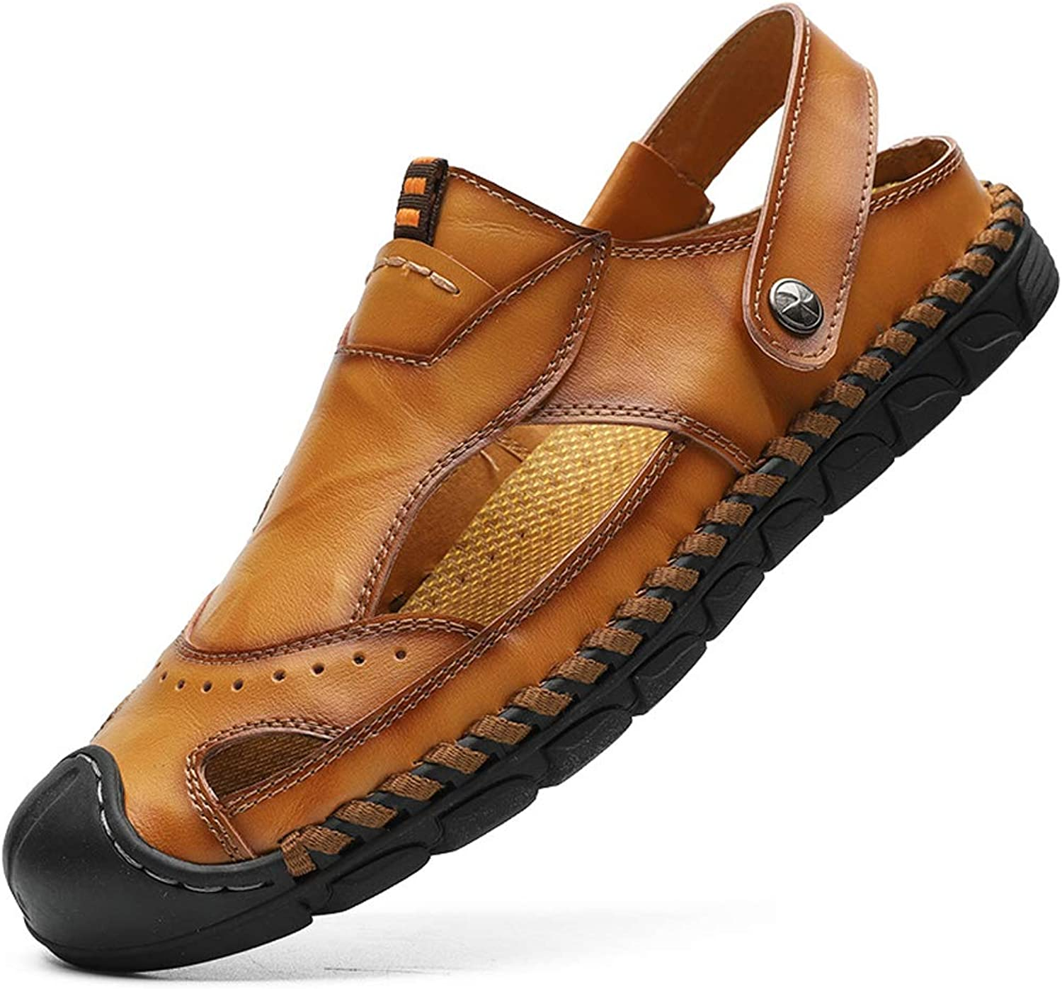 TYX-SS Summer Beach shoes Fashion Leather Men'S Casual Sandals Slippers