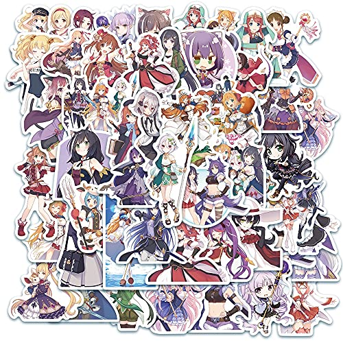 DSSK 50 Pezzi di Cartone Animato di Anime Gioco Principessa Adesivo Impermeabile Ragazza Carina cancelleria Fai da Te Bagagli Valigia Portatile Adesivo Chitarra