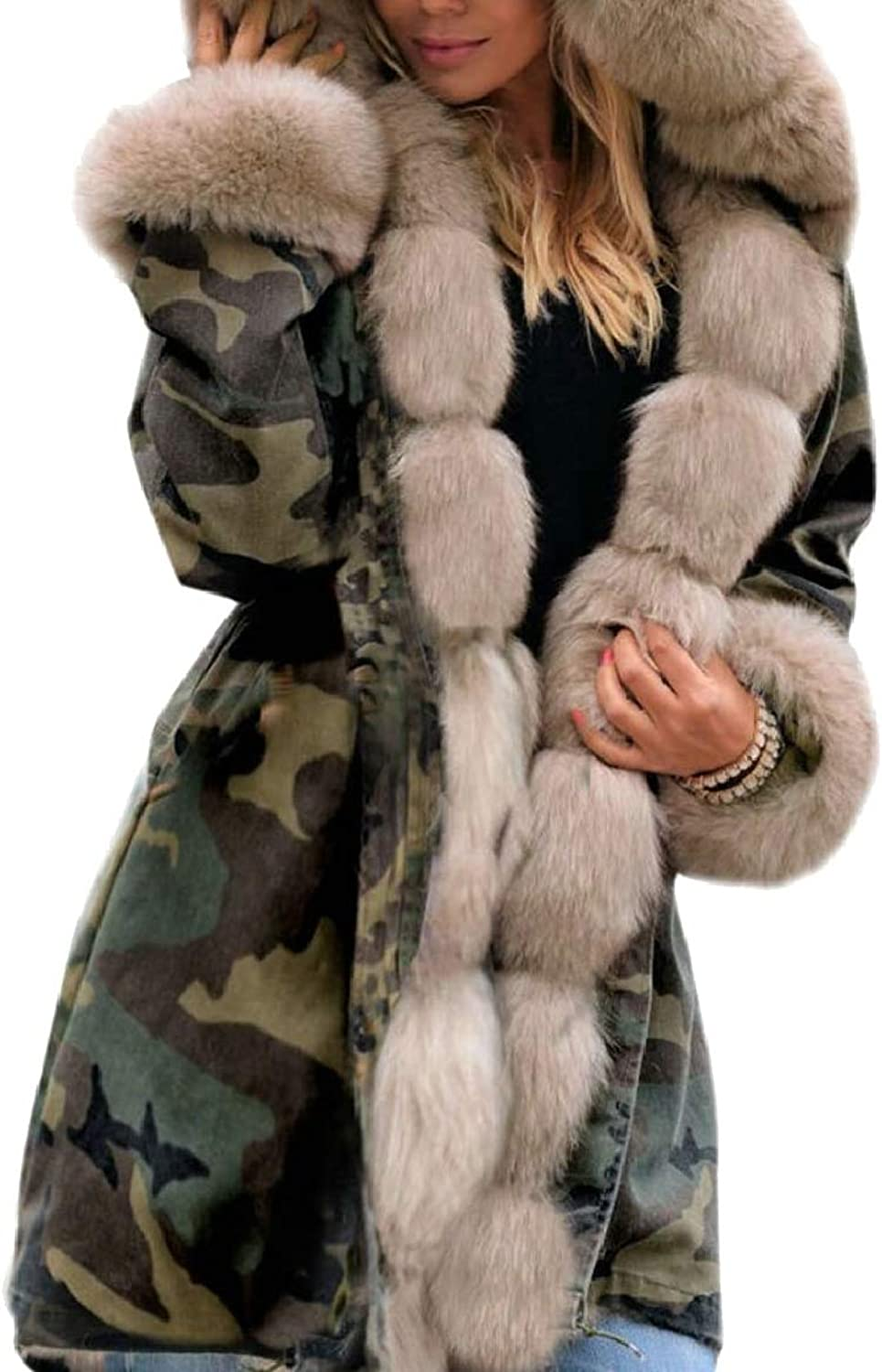 RGCA Womens Padded NoButtons Thicken Winter FauxFur Collar Down Jacket Coat