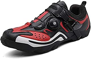 ZMYC Men Road Cycling Shoes Bicycle Shoes Mountain Bike Shoes Breathable MTB Mountain Cycle Sneaker Triathlon Racing Shoes (Color : Red, Size : 47)