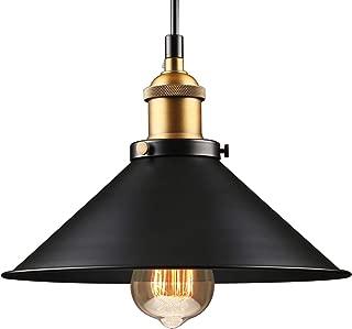 LEONLITE Industrial Hanging Pendant Light, Rustic Farmhouse Style, Matte Black Metal Shade, Retro Vintage Hanging Light, for Dining Room, Bars, Warehouse, E26 Base, ETL Certified