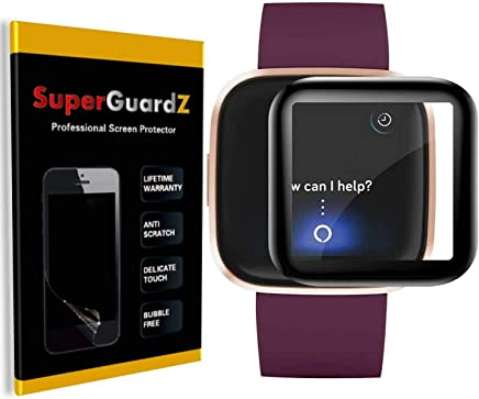[3-Pack] for Fitbit Versa 2 (2019) [NOT for Fitbit Versa] Full Cover Screen Protector, SuperGuardZ, Ultra Clear, Anti-Scratch [Lifetime Replacement]