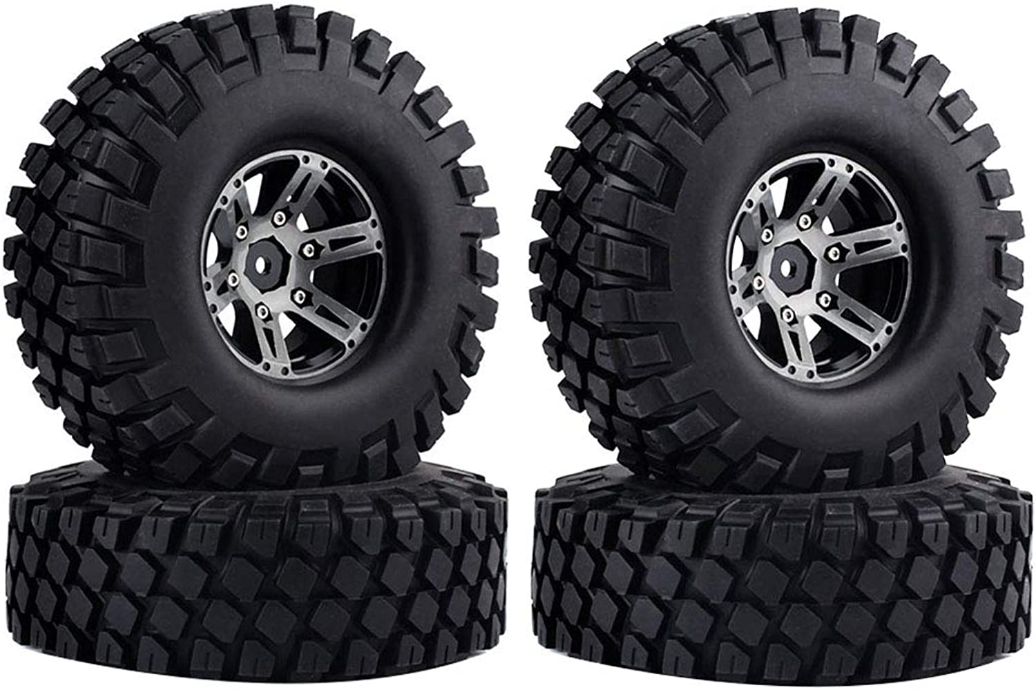 KEEDA 114mm 1.9 inch Metal Alloy Beadlock Wheels Rims and Tires for 1 10 Scale RC Rock Crawler Car Axial SCX10 Traxxas TRX4 RC4WD D90 TF2 Upgrade Parts
