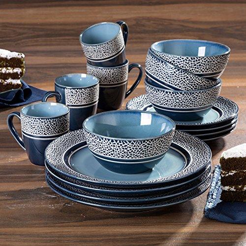 Mosaic Blue 16 Piece Round Dinnerware Set