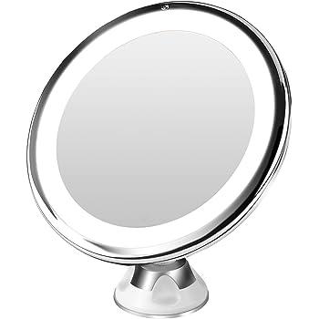 BESTOPE 10倍拡大鏡 LED化粧鏡 浴室鏡 卓上鏡 曇らないミラー 吸盤ロック付きLEDミラー 壁掛けメイクミラー 360度回転スタンドミラー 単四電池&USB給電(改良版)