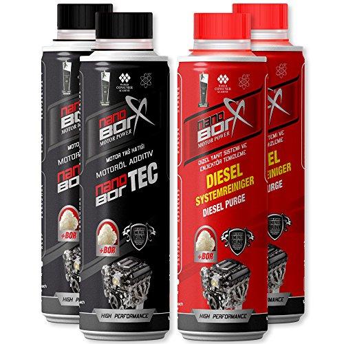 NANOBORX SET Motoröl und Diesel Additiv Additive je 2x 300ml | Motor Öl Zusatz und Kraftstoff Zusatz Dieselzusatz mit Nano Technologie für Power, Leistung, Motorschutz, Motorbeschichtung und Speed | Ruhigeren Motorlauf, geringeren Kraftstoffverbrauch, optimale Verbrennung und Reinigung | Nano Borx Bor