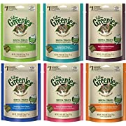 Greenies Dental Cat Treat Variety Bundle - Tuna, Salmon, Ocean Fish, Beef, Chicken, and Catnip Flavor - 2.1 oz. Each (6 Total Pouches - 1 of Each Flavor)