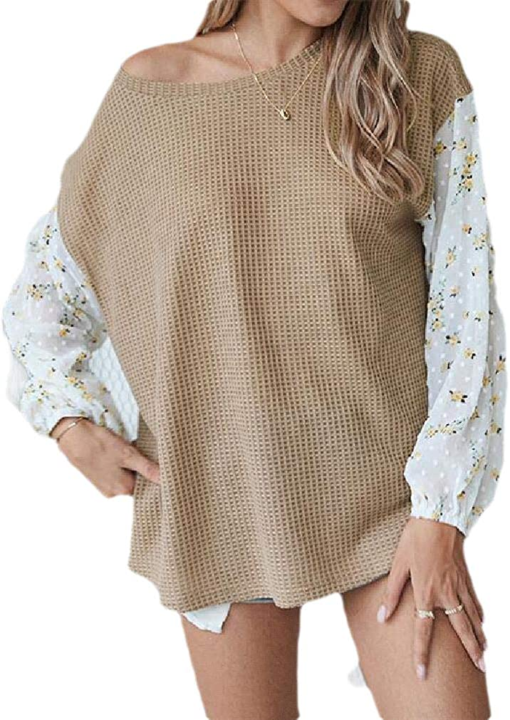 Fubotevic Womens Autumn Winter Stitching Floral Print Long Sleeve Relaxed Fit Top T-Shirt Blouse