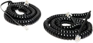 iMBAPrice (Pack of 2) Black Coiled Telephone Phone Handset Cable Cord, Coiled Length 3 to 12 feet Uncoiled (Value Pack)