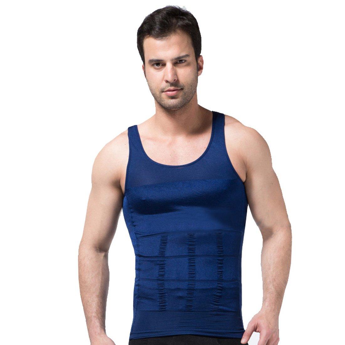 ZEROBODYS Faja reductora hombres camisa de elástica de adelgazamiento de la forma chaleco escultural Azul SS-M01 (M): Amazon.es: Deportes y aire libre