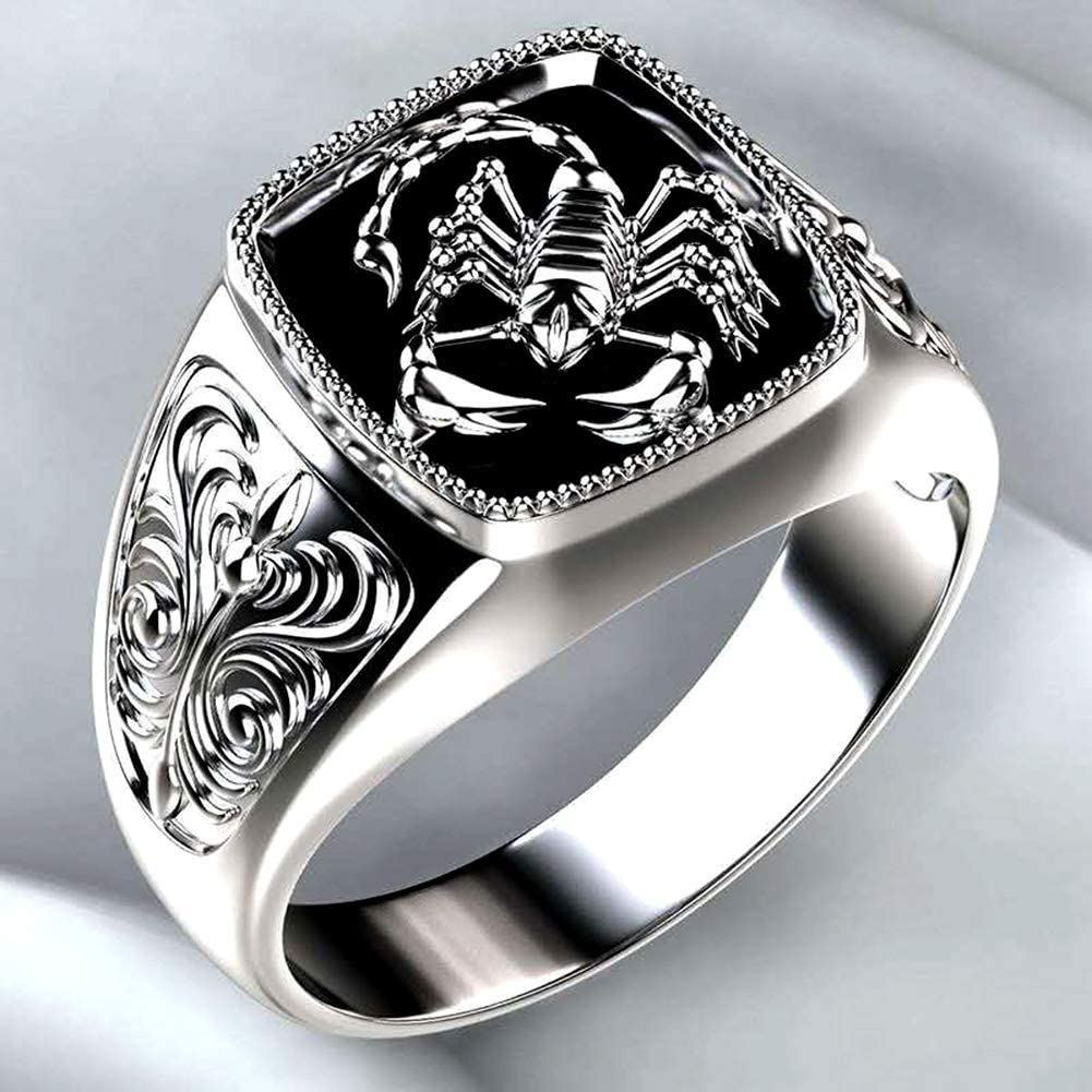 shlutesoy Fashion Men Scorpion lowest price Engraved Alloy B Finger Wide Denver Mall Ring