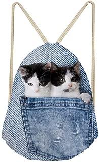 Animal Cute Drawstring Bag Cat Dog Kawaii Hiking Backpack for Kids