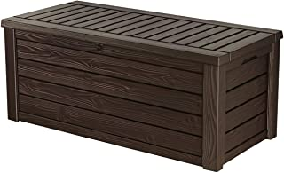 Keter Westwood Plastic Deck Storage Container Box Outdoor Patio Garden Furniture 150 Gal, Brown (Renewed)