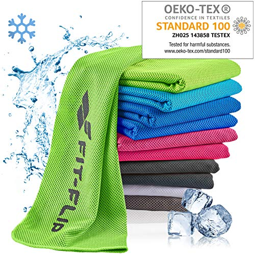 Fit-Flip Kühlendes Handtuch 100x30cm, Mikrofaser Sporthandtuch kühlend, Kühltuch, Cooling Towel, Mikrofaser Handtuch – Farbe: neon grün, Größe: 100x30cm