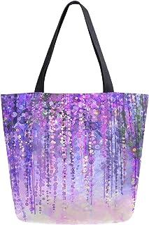 HMZXZ RXYY Abstrakt lila Blumes Blumen- Segeltuch Tasche Schwer Pflicht Groß Frauen Beiläufig Schulter Tasche Handtasche Wiederverwendbar Einkaufen Tasche Bag für Draußen Reise